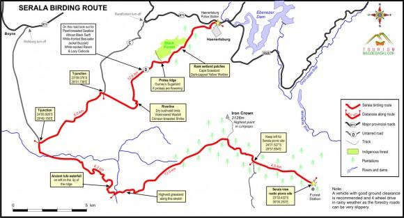 Serala Birding Route 2015 with distances