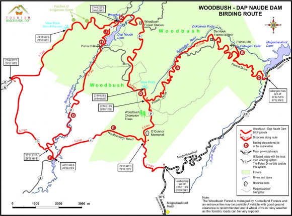 Woodbush Birding Route 2015 with distances